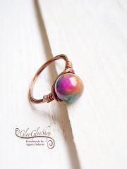 Legyél színes! jáspis-vörösréz gyűrű