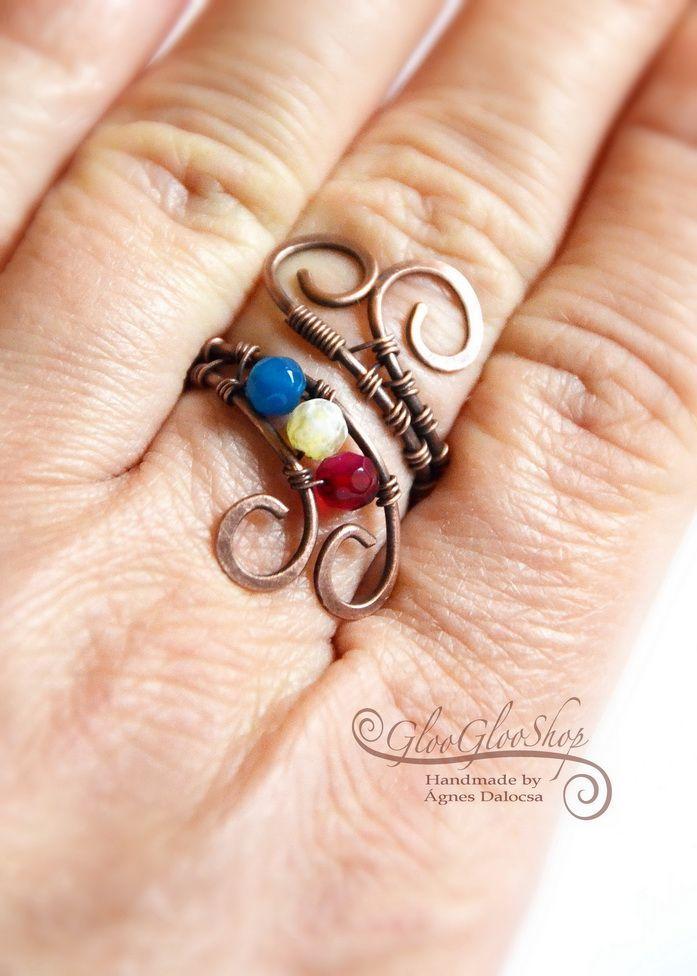 Achát színsor.... vörösréz gyűrű