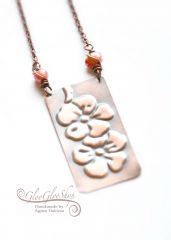 Sakura... vörösréz nyaklánc tenyésztett igazgyönggyel