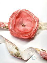 Korália - egyedi vintage menyasszonyi öv