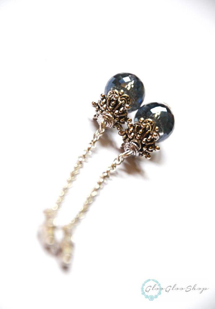 Szépséges kékséges… ezüstözött fülbevaló kristállyal
